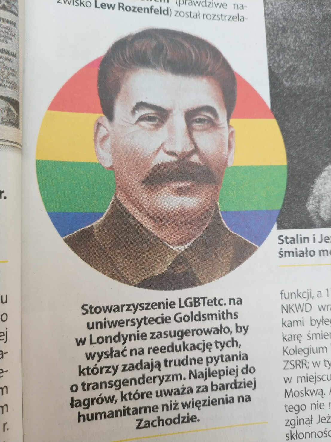Stalin in front of a gay flag