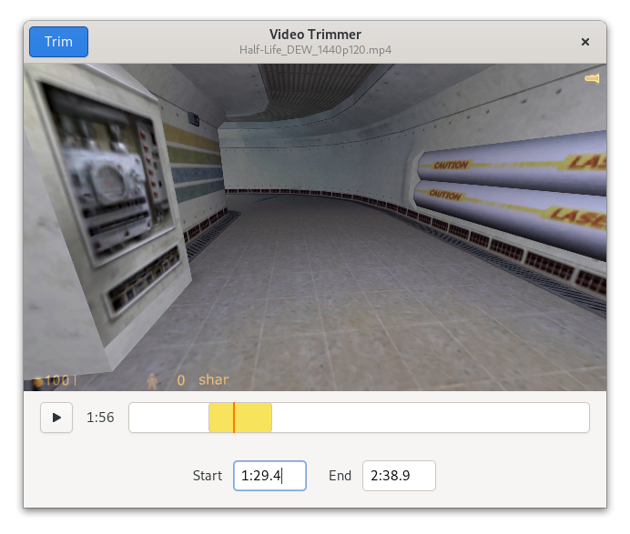 Screenshot of the Video Trimmer window.
