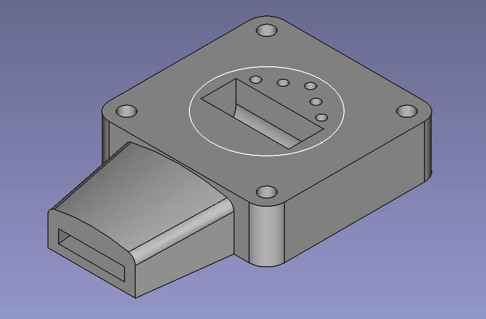 FreeCAD screenshot of mouthpiece part based on previous sketch