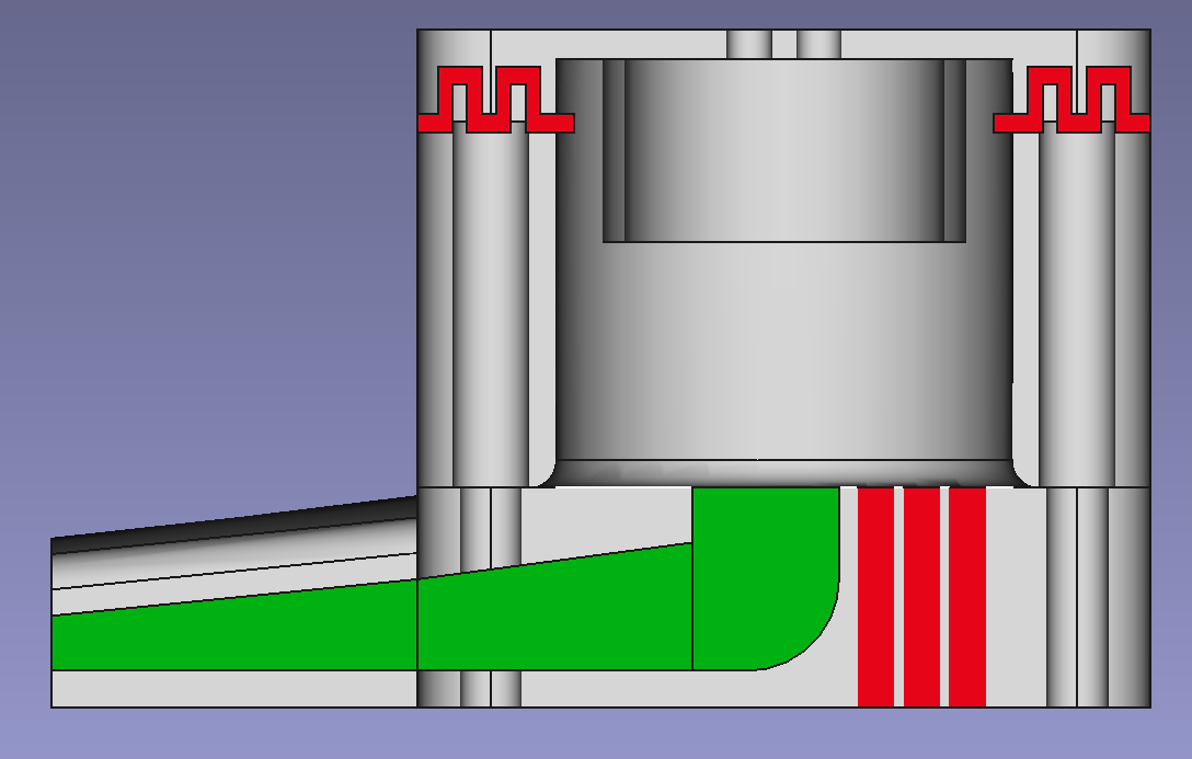 Cross section of the air passages in the sensor - green for inlet from the mouthpiece, red for the outlets from sensor chamber and the mouthpiece side.