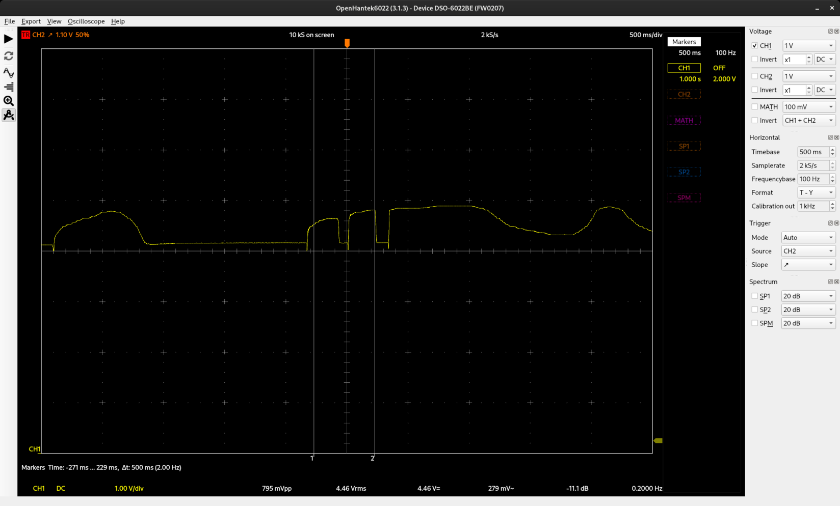 Oscilloscope screenshot, showing some good variation as I blow on the mouthpiece