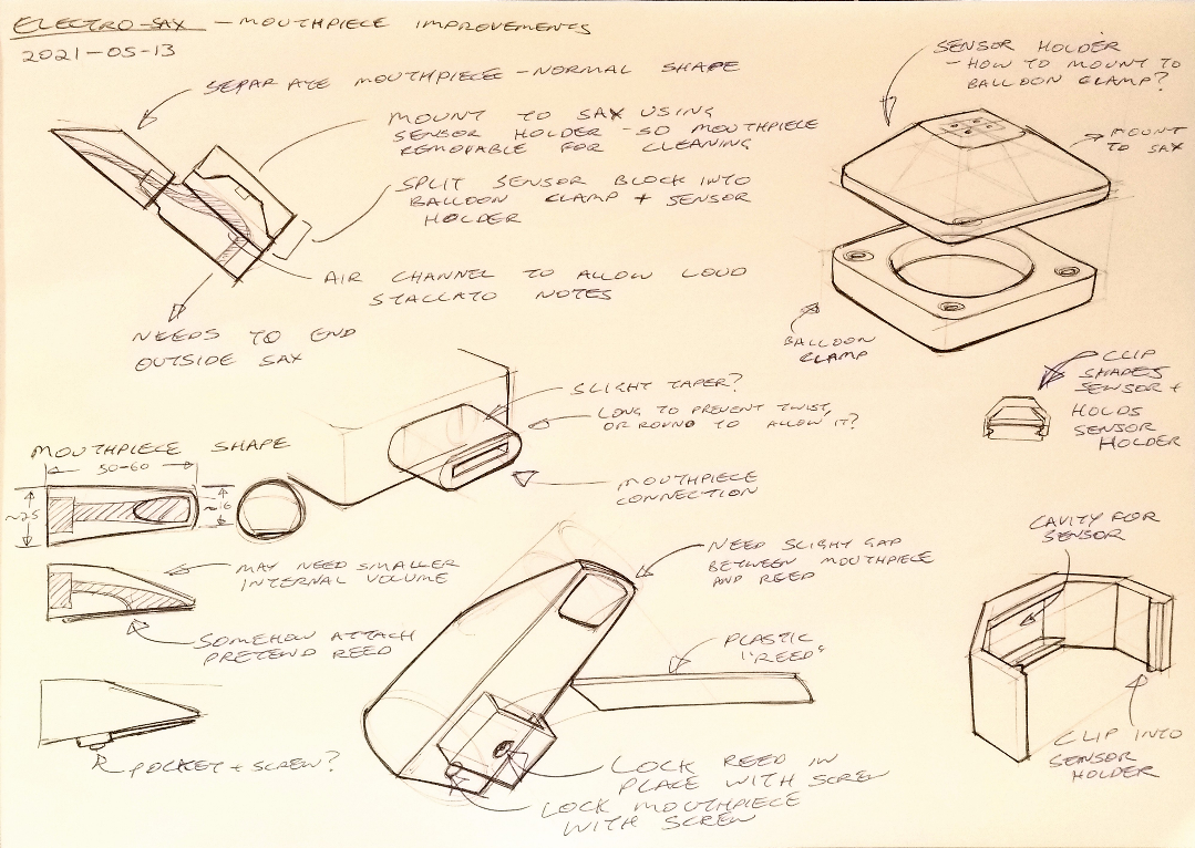 Page of sketches and notes around a more modular breath sensor, with a more typical saxophone-style mouthpiece