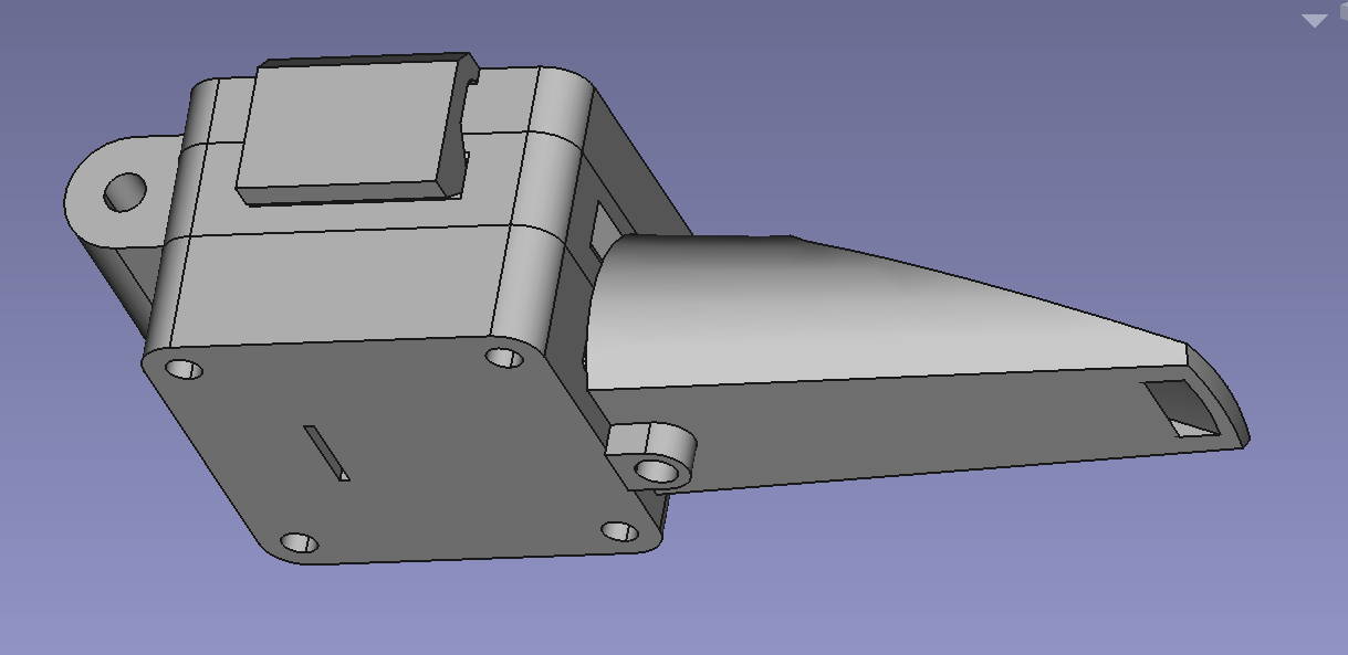 The breath sensor in FreeCAD. It goes from the mouthpiece on the right, into the mouthpiece block on the left. On top of the mouthpiece block there's a piece which clamps the membrane in place, and then the part which holds the sensor