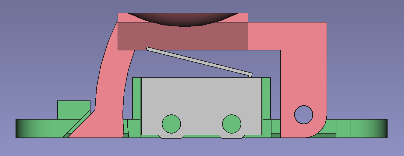 Cross section of the button design - there's a base in green, with an arched lever over the top and both have a hole for a pivot axis on the right.