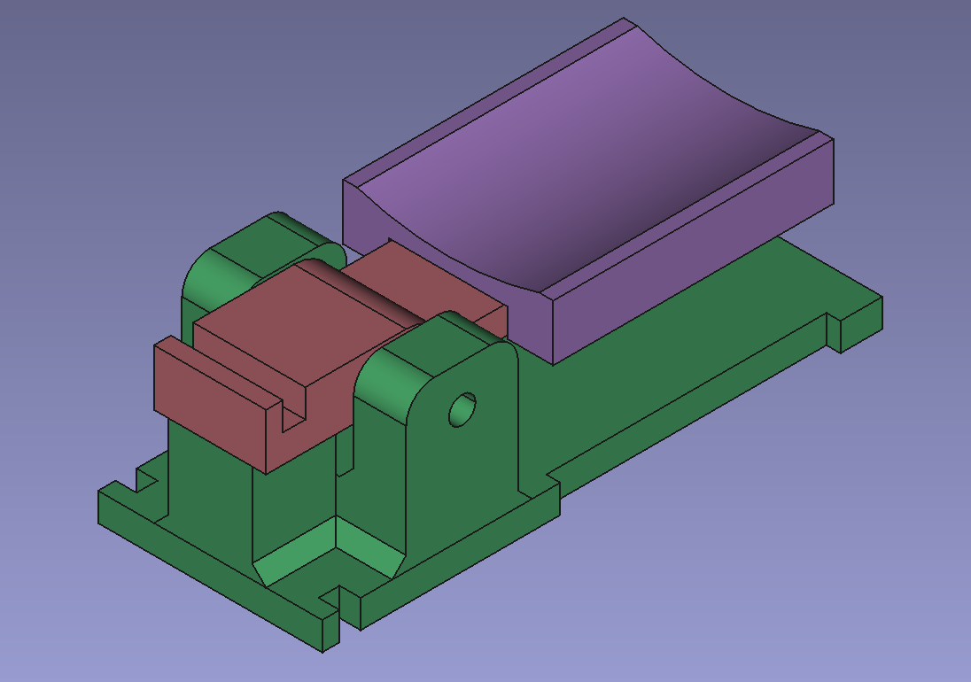 FreeCAD screenshot of the three parts - a green base, which supports a red lever, and on the red lever there's a purple curved pad mounted to press on. There are some notches on the lever and base for a rubber band to un-press the button.