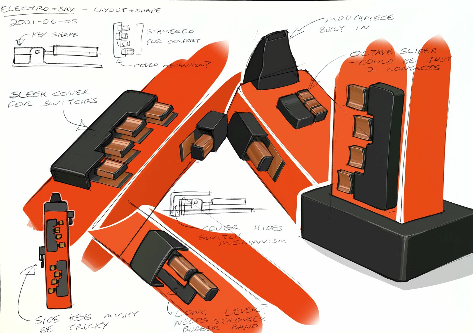 Sketches of various details of electro-sax ideas, at jaunty angles. Mostly centred around adding covers which hide the mechanism of the keys. It's all coloured in very bold orange and greys, with somewhat realistic looking copper on the keys.