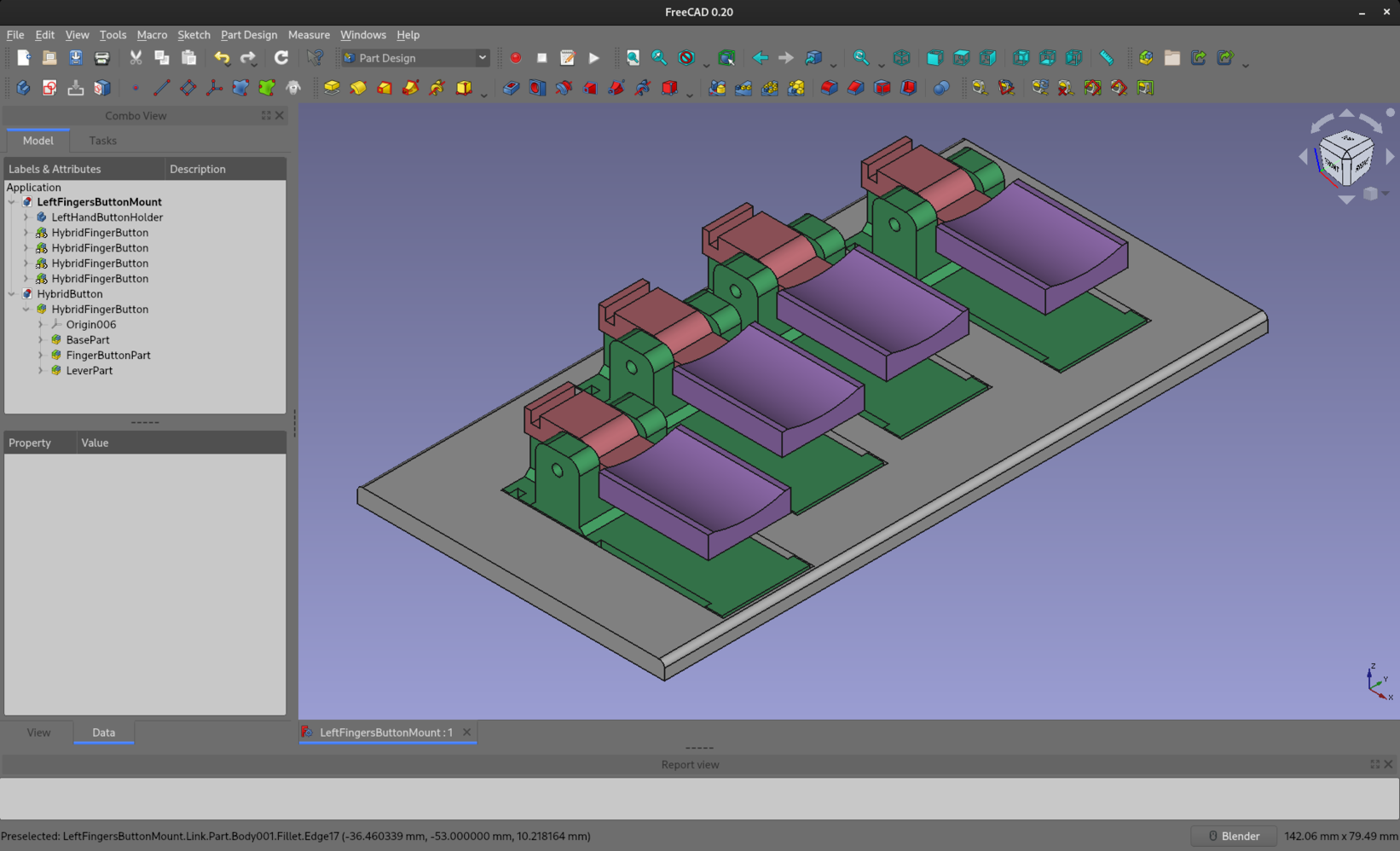FreeCAD screenshot with view of four colourful button levers mounted into recesses in a grey plate. They're positioned in a slightly staggered fashion to match the different lengths of my fingers.